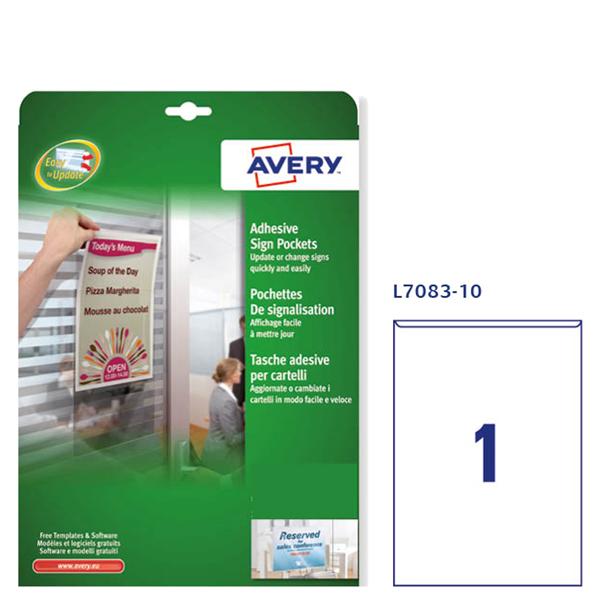 Tasche adesive L7083 - 21x29.7 cm - A4 - Avery - conf. 10 pezzi
