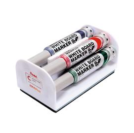 Set 4 marcatori Maxiflo con cancellino - punta conica 6mm - colori : nero,blu,rosso,verde - Pentel