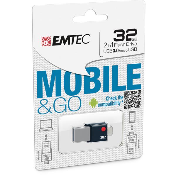 Emtec - Micro Usb 3.0 Flash Drive Go - ECMMD32GT203 - 32GB