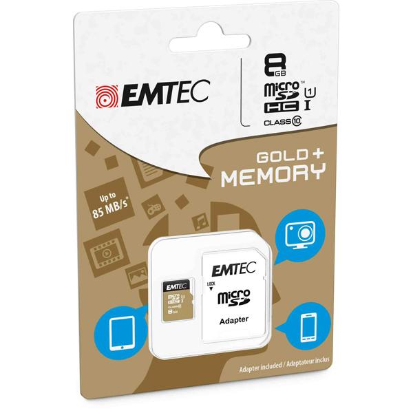 Emtec - Micro SDHC Class 10 Gold + con Adattatore - ECMSDM8GHC10GP - 8GB