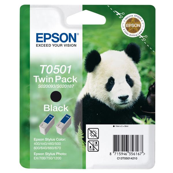 Epson - cartuccia - C13T05014210 - nero, doppia Stylus col 400/440/460/600/640/660/670, Stylus photo 700/750, blister RS