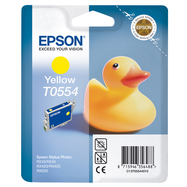 Epson - cartuccia - C13T05544010 - giallo, Stylus photo r240, rx420/425, r245, blister con RF