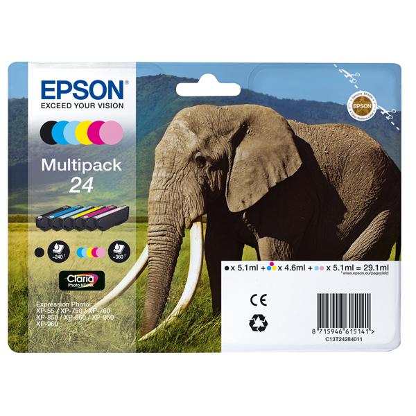 Epson - Multipack Cartuccia ink - 24 - C/M/Y/C CH/M CH/K - C13T24284012 - C/M/Y 4,6ml - K/ C CH/M CH 5,1ml -