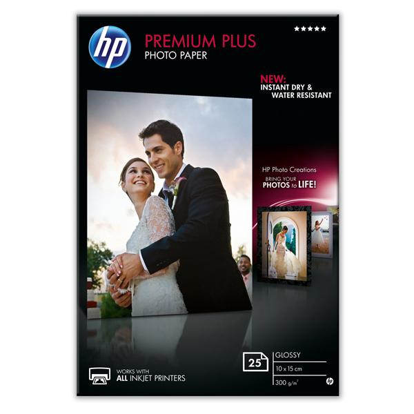 Hp - Confezione da 25 Fogli Carta fotografica Hp Premium Plus, lucida 10 x 15 cm - CR677A