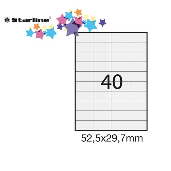 Etichetta adesiva - permanente - 52,5x29,7 mm - 40 etichette per foglio - bianco - Starline - conf. 100 fogli A4
