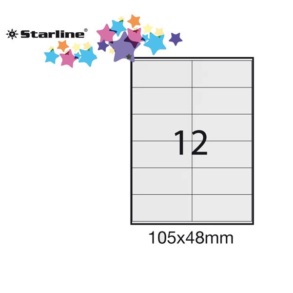 Etichetta adesiva - permanente - 105x48 mm - 12 etichette per foglio - bianco - Starline - conf. 100 fogli A4
