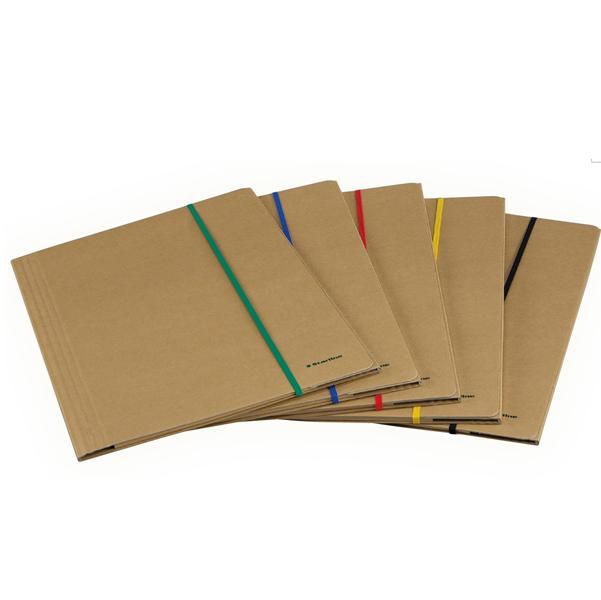 Cartellina con elastico - cartoncino FSC - 3 lembi - elastico colorato piatto da 5 mm  - 25x35 cm - avana - Starline