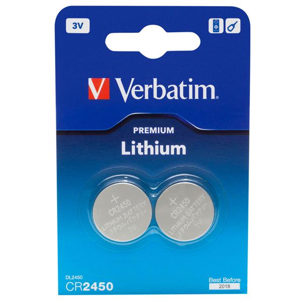 Verbatim - Blister 2 MicroPile a pastiglia CR2450 - litio - 49938 - 3V