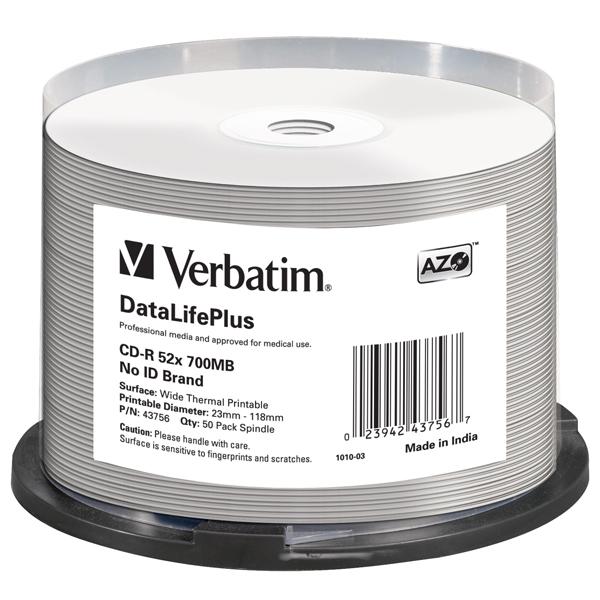 Verbatim - Scatola 50 CD-R Data Life Plus - spindle 1X-52X - 43756 - 700MB