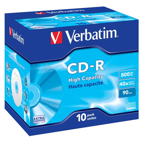 Verbatim - Scatola 10 CD-R Data Life Jewel Case serigrafato - 1X-40X - 43428 - 800MB