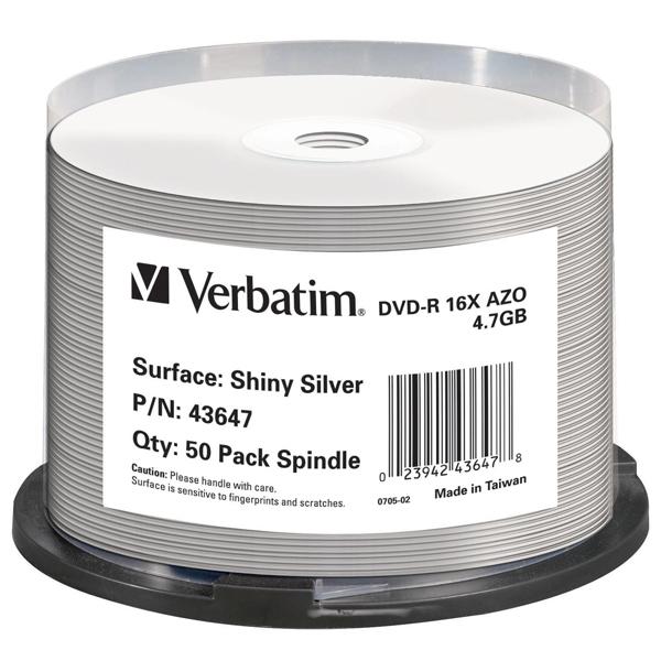 Verbatim - DVD-R -  shiny silver lucida 16x 4.7gb spindle - Conf. da 50 dvd