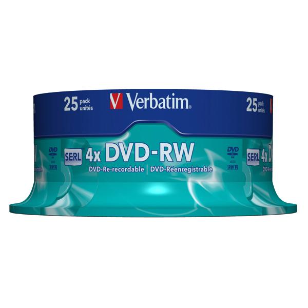 Verbatim - Confezione 25 DVD-RW - argento lucido - serigrafato - 43639 - 4,7GB