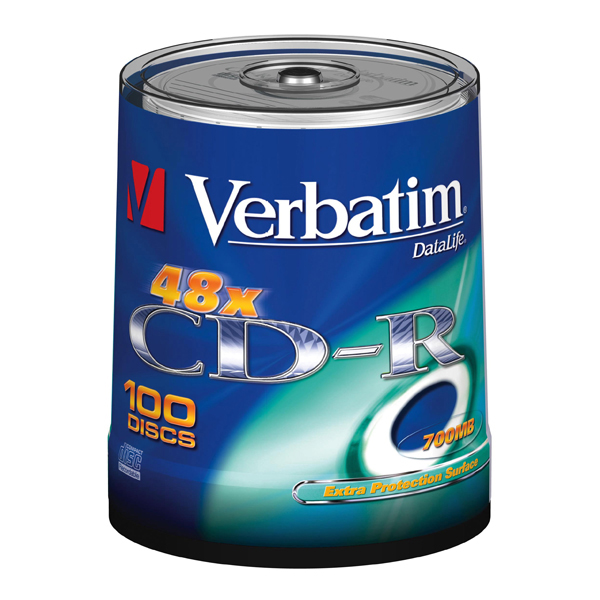 Verbatim - CD-R - datalife spindle 1x/52x 700mb serigrafato extra protection - Conf. da 100